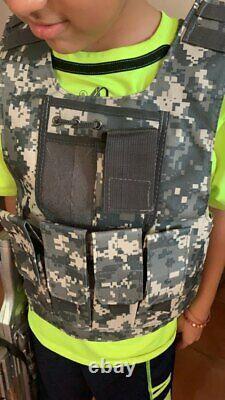 Kids Boys Vest Camouflage Bulletproof Combat Armor Tops Equipment Uniform Set