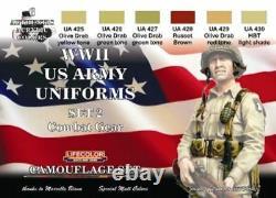 Lifecolor WW II US Uniforms Set #2' Camouflage, Combat and Fatiques #CS18