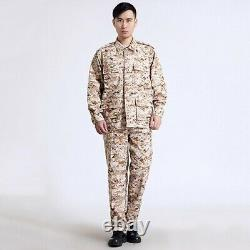 Men Army Tactical Military Uniform Camouflage Print Combat Hunting Army Suit