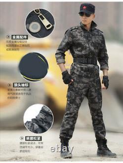 Men Camo Military Tactical Cotton Army Jacket+Pants Combat Uniform Set Outdoor
