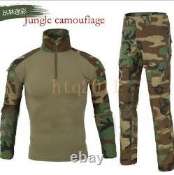 Men's Tactical Combat Shirt and Pants Set Long Sleeve Multicam Military Uniform
