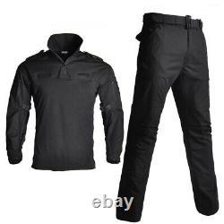 Mens Military Tactical Combat T-shirt Pants BDU Uniform Army Camouflage SWAT Set