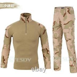 Mens Tactical Combat Airsoft Frog Camouflag Shirt Pant Set Military Uniform Suit