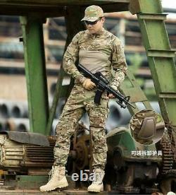 Mens Tactical Long Sleeve T-shirt Cargo Pants Uniform Army Combat Set BDU Hiking