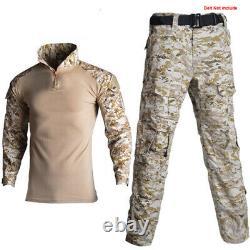 Mens Tactical Workout Camouflage T-shirt & G2 Pants CS Air Soft Amy Uniform Sets