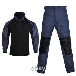 New Mens Tactical Camouflage Army Military Combat T-shirt Pants Set SWAT Uniform