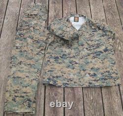 Set Large Reg Marine Corps MARPAT Digital Woodland Camouflage Trouser Shirt USMC