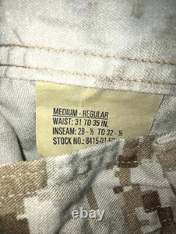 Set Medium-Reg Marine Corps MARPAT Desert Camouflage Trouser Shirt USMC