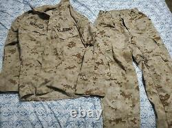 Set Small XS Marine Corps MARPAT Digital Desert Camouflage Trouser Shirt USMC