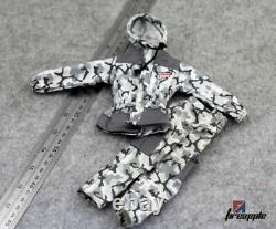 Snow Camouflage 1/6 Scale Hooded Camo Top Pants Clothes Uniform Set Model