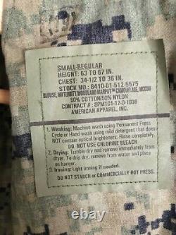 U. S. Marine Maternity Woodland MARPAT Camouflage Uniform Set Name MADRID S-Reg