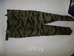 VNT8Lb RVN Vietnam Tiger Stripe Camouflage Uniform Set button L 46J 36T W13E