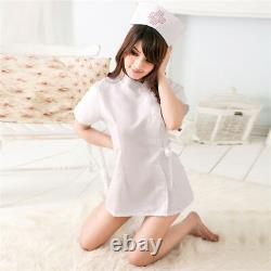 Women Girl Sexy Lingerie Nurse Uniform Cosplay Underwear Lace Hollow Dress Set