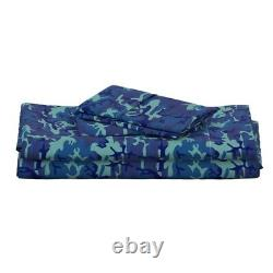 Camo Camouflage Bleu Uniforme Militaire 100% Coton Feuille Sateen Set By Roostery