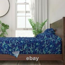 Camo Camouflage Blue Military Uniform 100% Cotton Sateen Sheet Set By Roostery