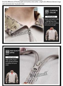 Camouflage Hunting Tactical Clothes Uniform Knee Pad Pants Chemise À Manches Longues Ensemble