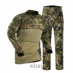 Hommes T-shirt T-shirt Tactical Long Sleeve Cargo Pantalons Uniforme Army Combat Set Edr Randonnée