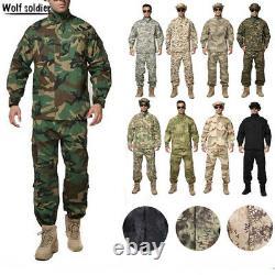 Mens Airsoft Military Tactical Combat Bdu Uniforme Veste Pantalons Ensembles Swat