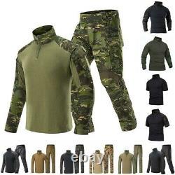 Mens Airsoft Tactique Gen3 Combat T-shirt Pantalon Forces Spéciales Bdu Uniforme Camo