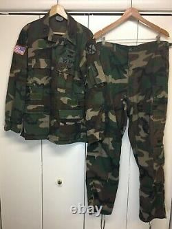 Usgi Set Coat & Trousers Aircrew Woodland Camouflage 10th Mountain Combat Patch
