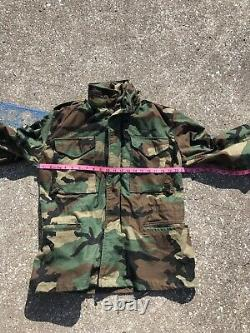 Vtg Mens Us Army Full Set Camouflage Camo Uniforme Petit Champ Froid