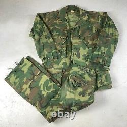 Vtg Us Army Vietnam 1968 Popeline Tropical Camouflage Veste Et Pantalon Set Petit